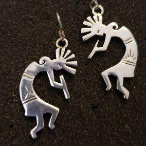 Kokopelli Earrings Sterling Silver Native Jewelry